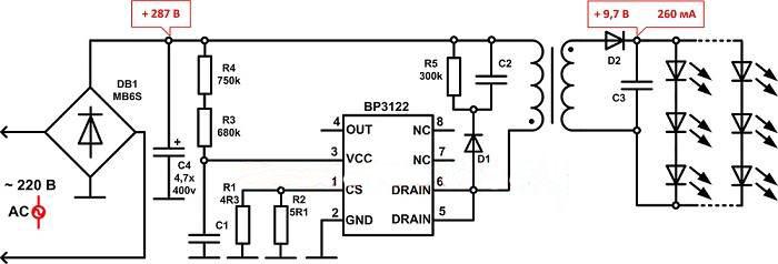 Типовая схема драйвера для светодиодов с трансформатором