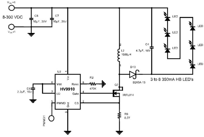 Типовая схема бестрансформаторного 220В драйвера для светодиодов